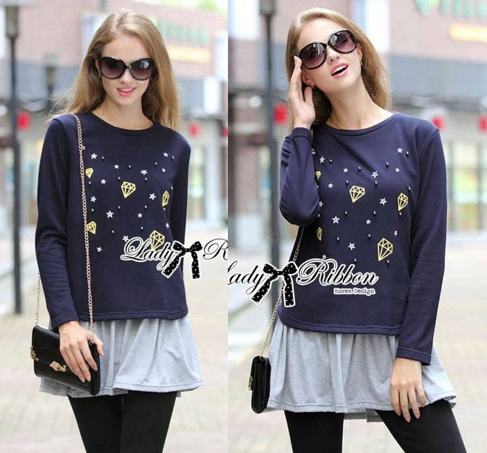 DR-LR-236 Lady Jewellery Embellished Sweater and Jersey Dress Set