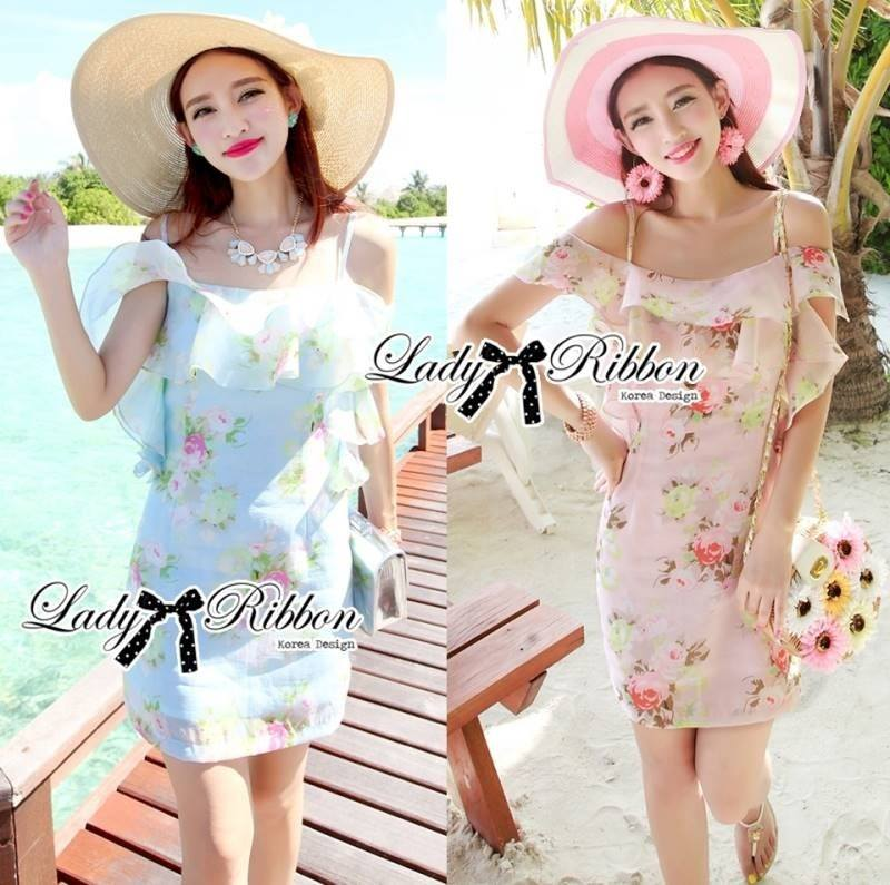 Lady Selena Sweet Feminine Floral Printed Silk Cotton Ruffle Dress L144-75C01
