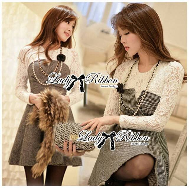 Lady Genna Insert Lace with Houndstooth Dress