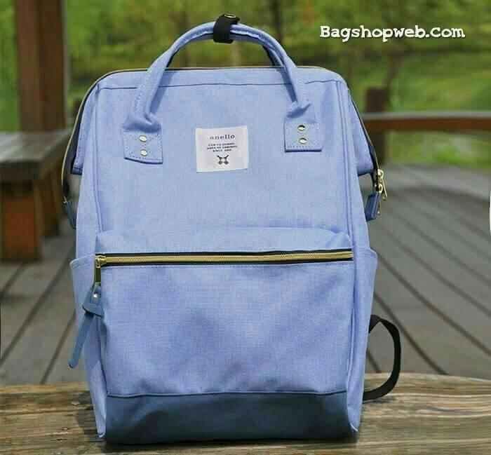 กระเป๋าเป้ ANELLO X PAGEBOY- LOCAL BRAND วัสดุ Polyester canvas สลับหนังกลับ ปากกระเป๋าเปิดปิดด้วยซิปคู่