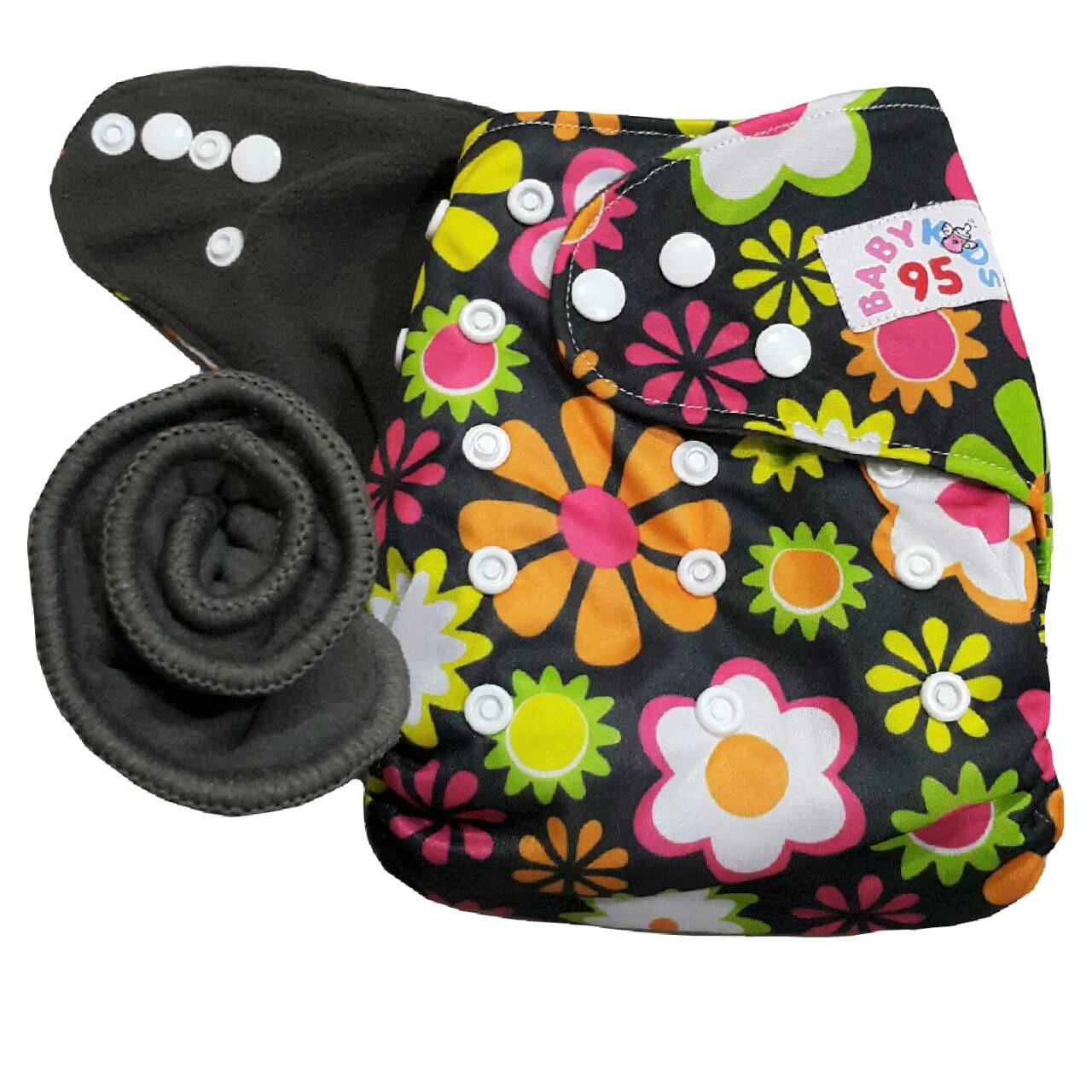 กางเกงผ้าอ้อมชาโคลขอบปกป้อง แถมแผ่นซับชาโคลหนา5ชั้น 1แผ่น - Flower