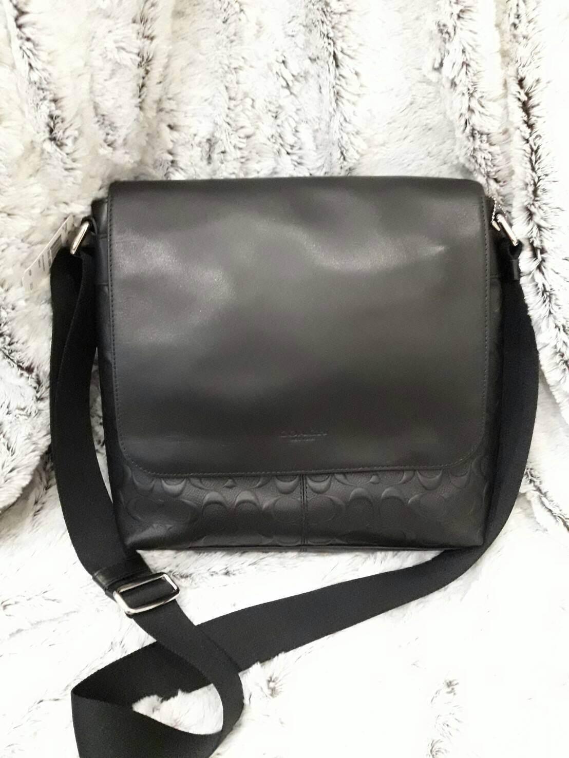 COACH Men F72220 Leather Messenger Bag กระเป๋าสะพายคุณผู้ชาย