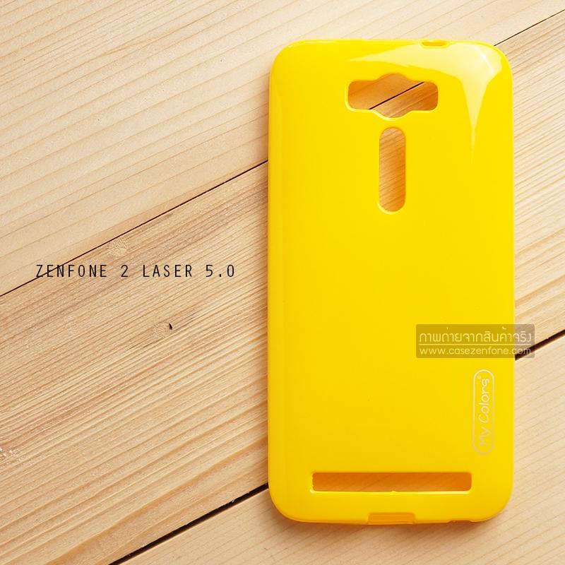 """เคส Zenfone 2 Laser 5.0"""" (ZE500KL) เคสนิ่มผิวเงา (MY COLORS) สีเหลือง"""
