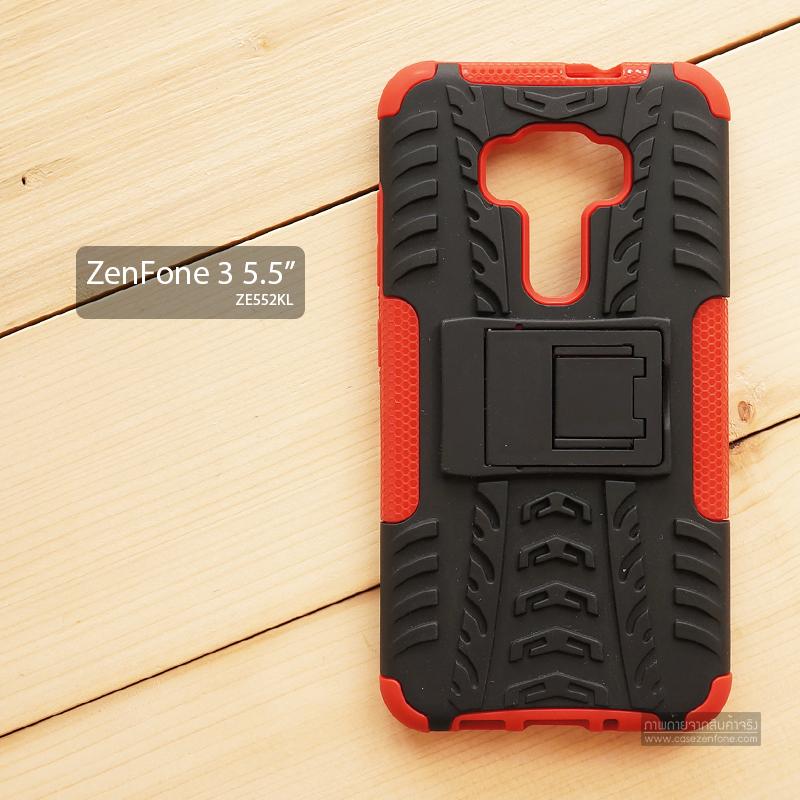 เคส Zenfone 3 (ZE552KL) 5.5 นิ้ว เคสบั๊มเปอร์ Defender กันกระแทก มีขาตั้งในตัว สีแดง