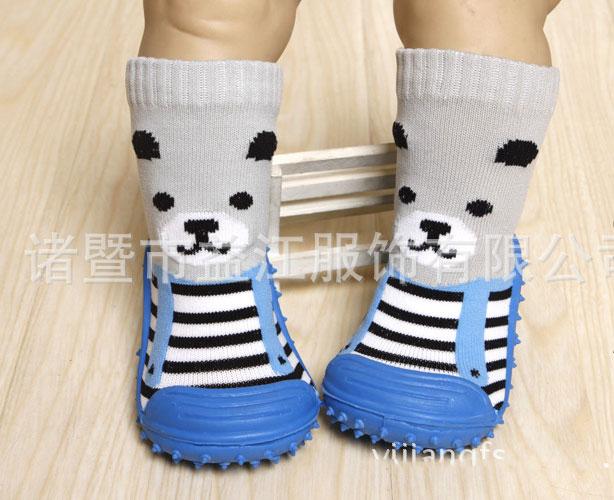 รองเท้าถุงเท้าพื้นยางหัดเดิน ลายหมี พื้นฟ้า size 19-23