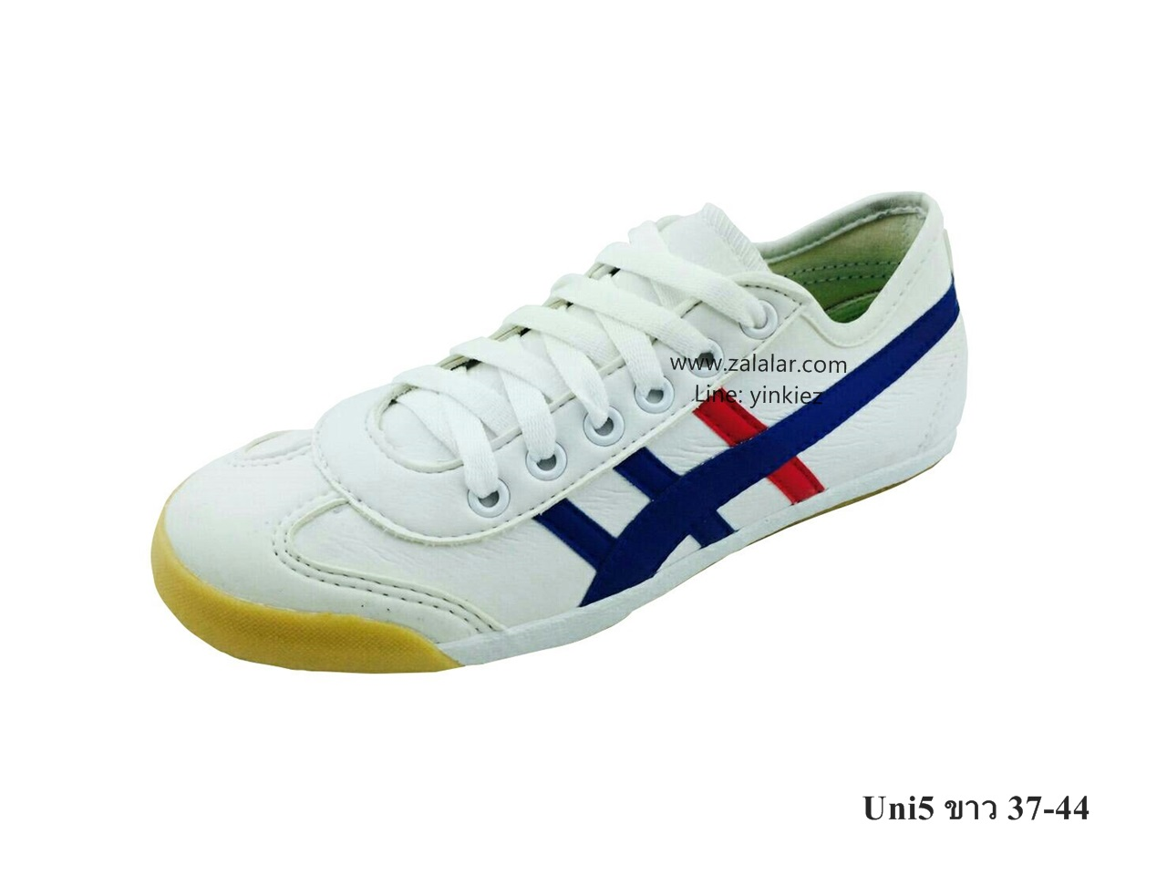 [พร้อมส่ง] รองเท้าผ้าใบแฟชั่น รุ่น Uni5 สีขาว แบบหนัง