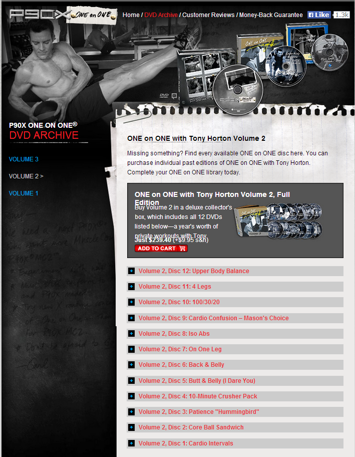 90X One on One with Tony Horton: For P90X Grads, Collector's Edition, Vol. 2 - 12 Workout DVDs