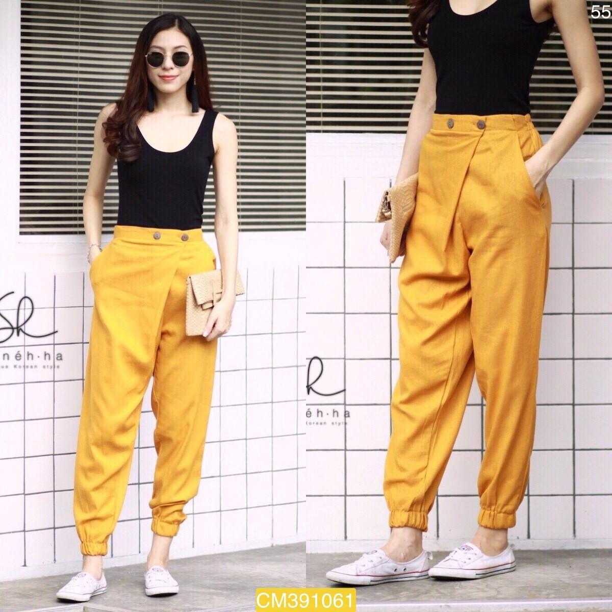 "CM1061 *สีเหลือง* เอว30-35"" กางเกงผ้าฝ้ายรุ่นขายดี แนววินเทจ"