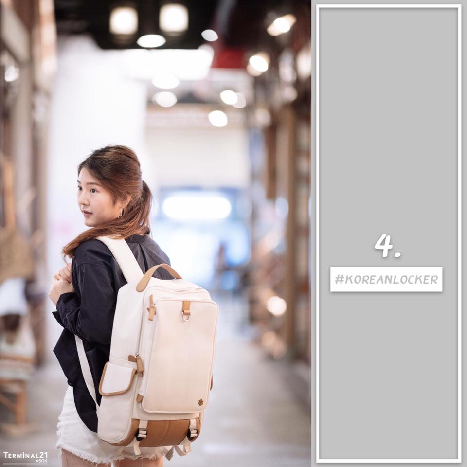 Kling / EXIT Premium Back pack(กระเป๋าเป้ สะพายหลัง) BA048 สีครีม พร้อมส่ง