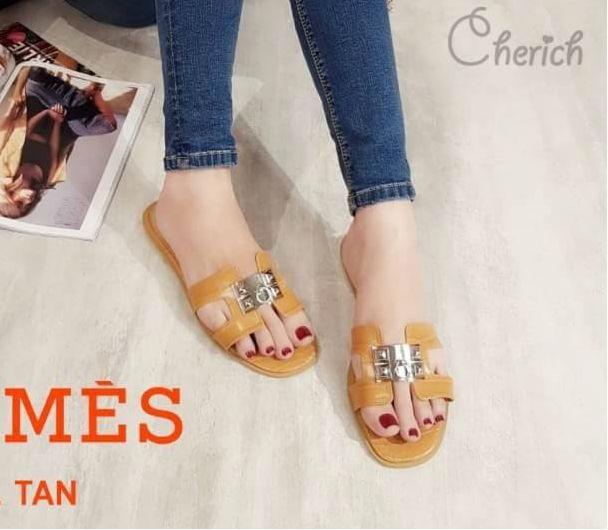 รองเท้าแตะแฟชั่น แบบสวม คาดหน้า H หนังลายหนังงูแต่งอะไหล่สไตล์แอร์เมสสวยหรู ใส่สบาย แมทสวยได้ทุกชุด (J341)