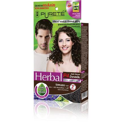 เพียวเต้ เฮอร์บัล คัลเลอร์ แชมพู สูตรผสมสมุนไพร จากธรรมชาติ สำหรับปิดผมขาว P4 Dark Brown น้ำตาลเข้ม