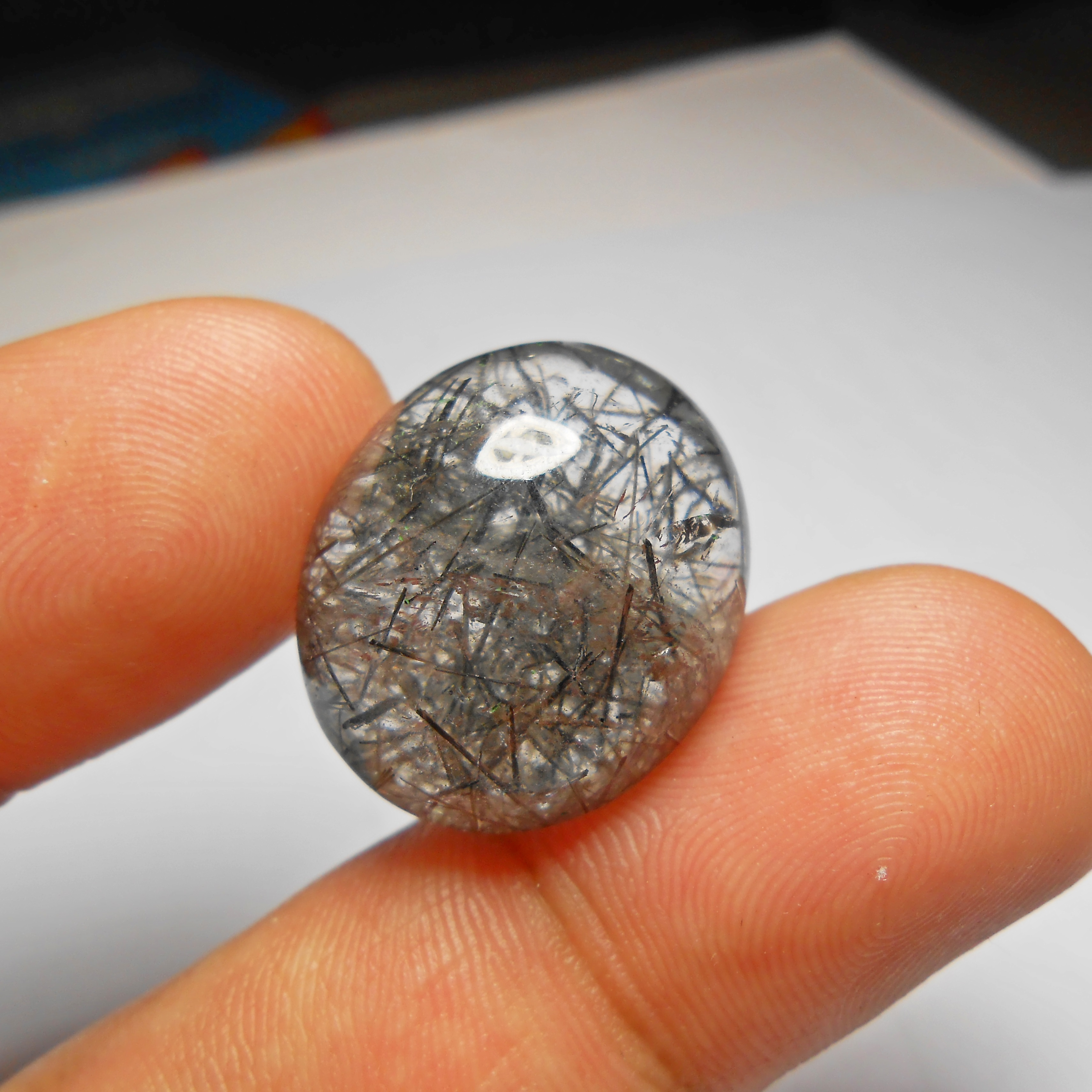 แก้วขนเหล็ก เส้นคมสวย ขนาด 2.4x2cm ทำแหวน จี้