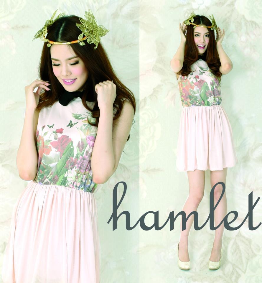 HAM186 หมดค่ะ HAMLET เดรสสีชมพูลายดอกไม้ คอปกสีดำ