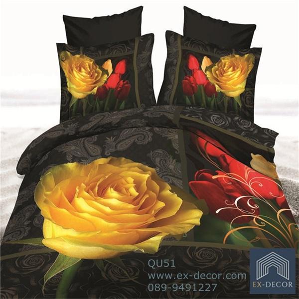 (Pre-order) ชุดผ้าปูที่นอน ปลอกหมอน ปลอกผ้าห่ม ผ้าคลุมเตียง ผ้าฝ้ายพิมพ์ 3D รูปกุหลาบเหลือง