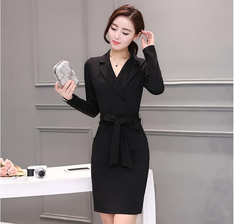 ชุดเดรสทำงานสีดำ แขนยาว คอวี รหัสสินค้า 8-9308-ดำ