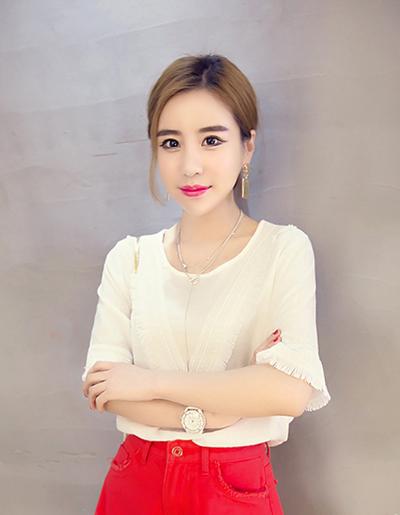 เสื้อแฟชั่น คอกลม แต่งผ้าลูกไม้สวยหวานน่ารักสไตล์เกาหลี-1514-สีขาว