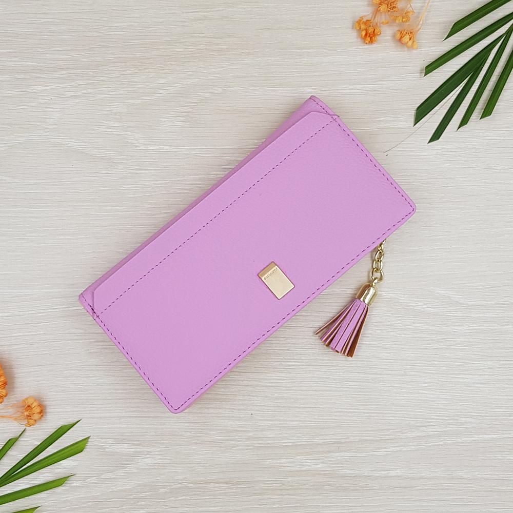 กระเป๋าสตางค์ผู้หญิง ทรงยาว รุ่น W long Prettyzys SQ Purple สีม่วง
