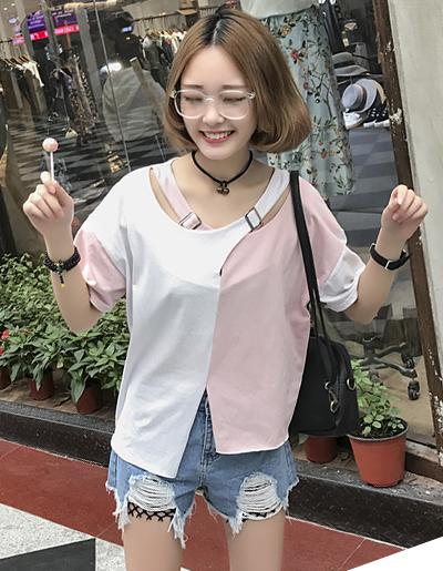 เสื้อแฟชั่นแต่งสองสี แขนสั้นดีไซน์เก๋คอไขว้น่ารักสไตล์เกาหลี-1620-ชมพูขาว