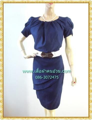 1211ชุดเดรสทำงาน เสื้อผ้าคนอ้วนมั่นใจสไตล์สาวเกาหลี ผ้าโซล่อน คอกลมจีบพับด้านหน้าอกดีไซน์หรู แขนตุ๊กตา เสริมชิ้นลอยที่กระโปรงพร้อมซับใน