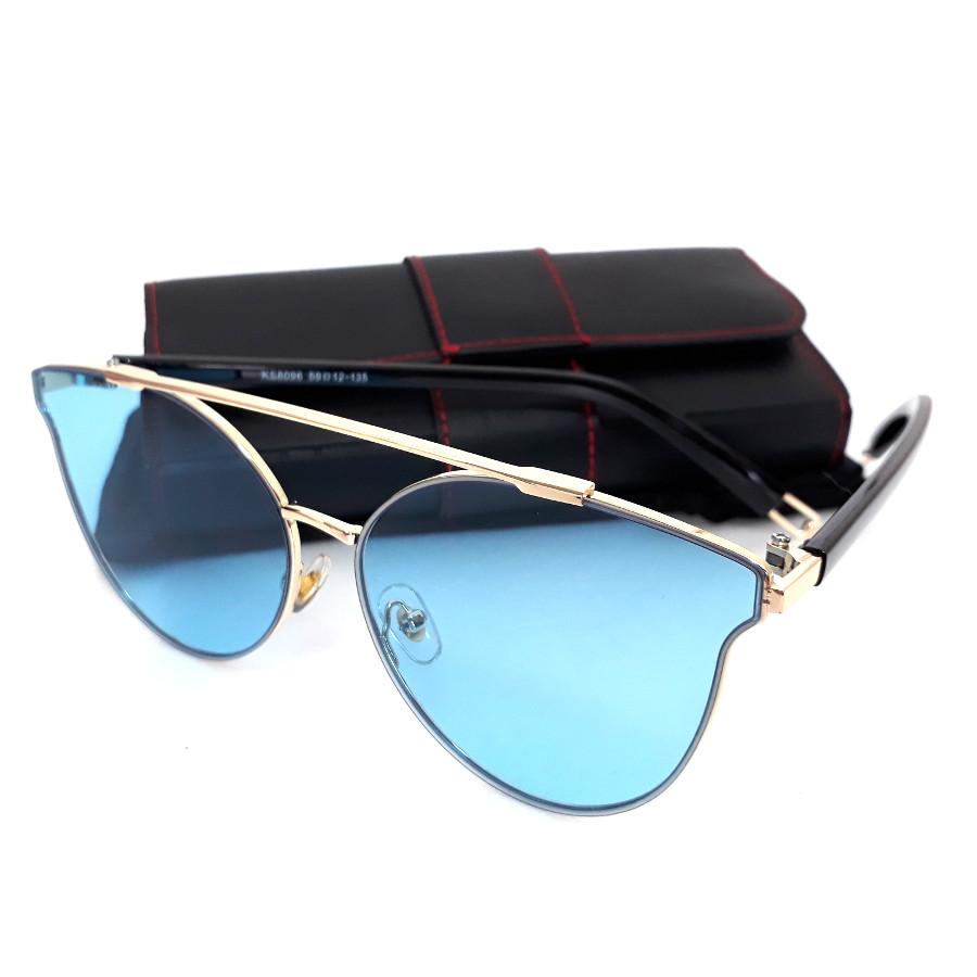 แว่นแฟชั่น ดารา กรอบสีทอง เลนส์ สีฟ้า รุ่น ดารา #1