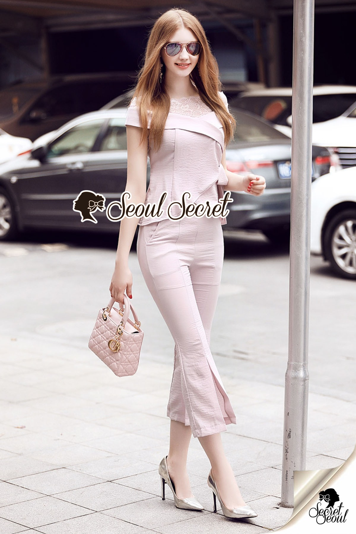 Seoul Secret Say's...T-Shirt Lace Sweet Pastel Set