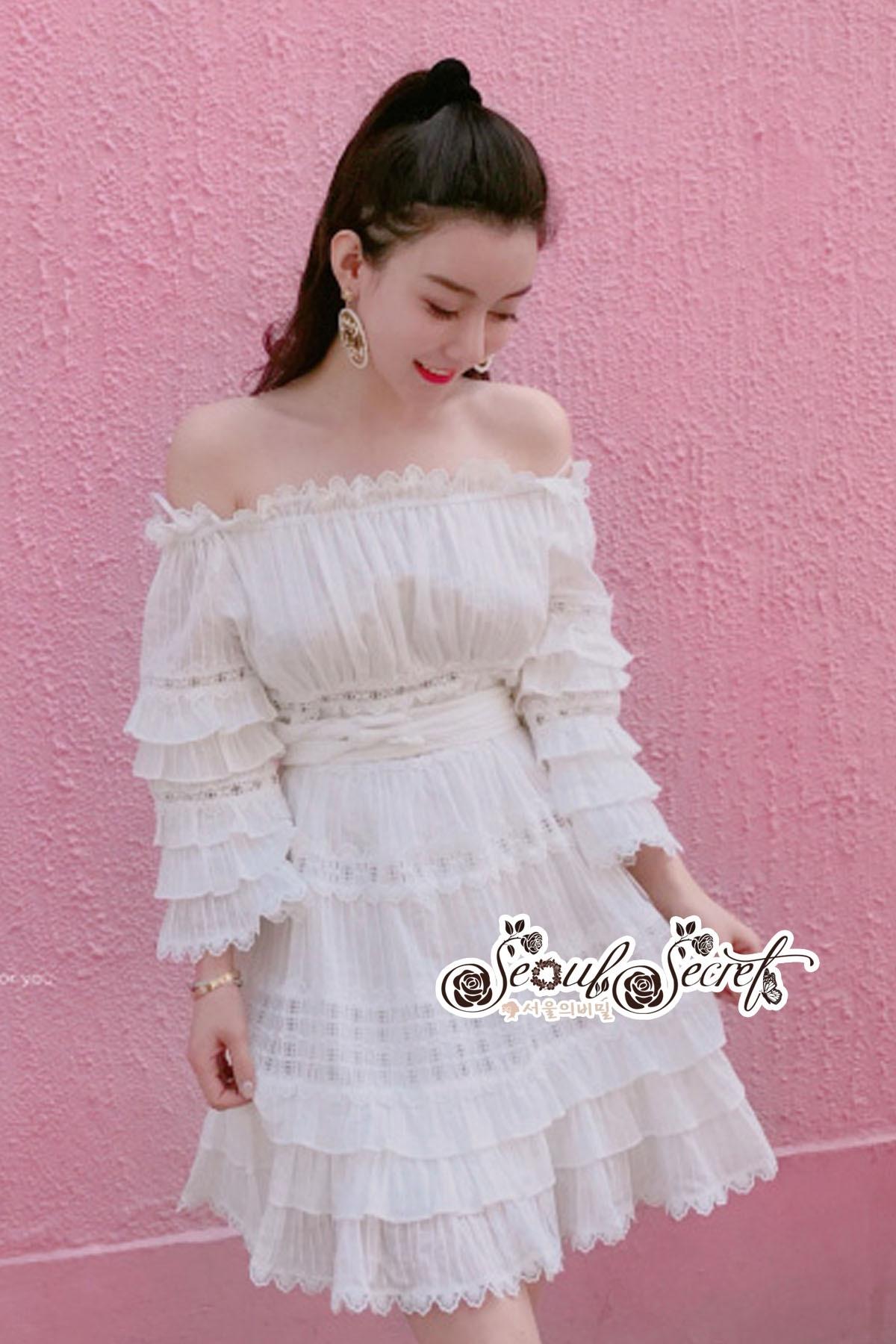 White Shoulder Dress Cutting Sewing Twist