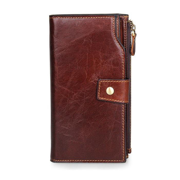 HM-8013 กระเป๋าสตางค์ หนังแท้ ใบยาว สีน้ำตาลแดง