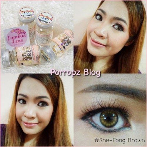 she-fong brown คอนแทคเลนส์สีน้ำตาลอ่อนสวย ขนาดเท่าตาจริง Dia.14