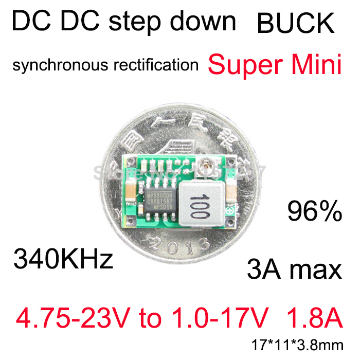 โมดูลเรกูเลต DC-DC step down converter Super Mini size buck module 4.75V-23V to 1.0V-17V 1.8A 3A(max)