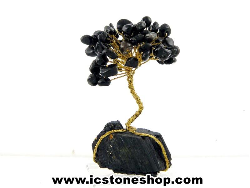 ▽ต้นไม้มงคล หินออบเดียน ฐานเป็นหินแบล็กทัวร์มาลีนใช้เสริมฮวงจุ้ย โต๊ะทำงาน (120g)