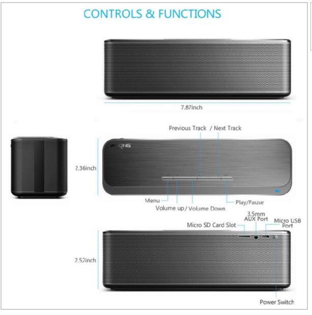 ลำโพง Bluetooth W-KING X8 มีพอร์ต AUX รองรับ SD Card