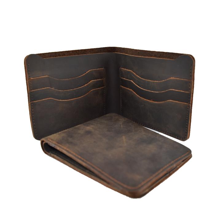 LD-0029 กระเป๋าสตางค์ผู้ชาย ใบสั้น หนังนูบัคน้ำมัน สีน้ำตาลเข้ม
