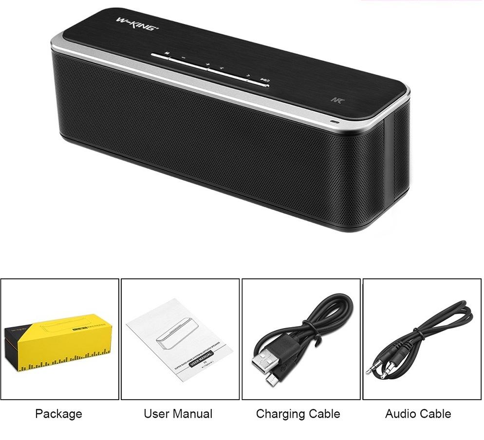 อุปกรณ์ภายในกล่อง ,ลำโพงไร้สาย W-KING X8 - Adapter สำหรับชาร์จ , สาย AUX , คู่มือการใช้งาน