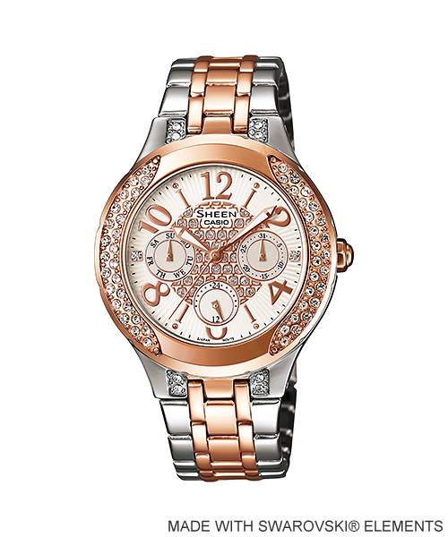 Casio Sheen Chronograph นาฬิกาข้อมือ รุ่น SHE-3803SG-7A (Silver/Pink gold)