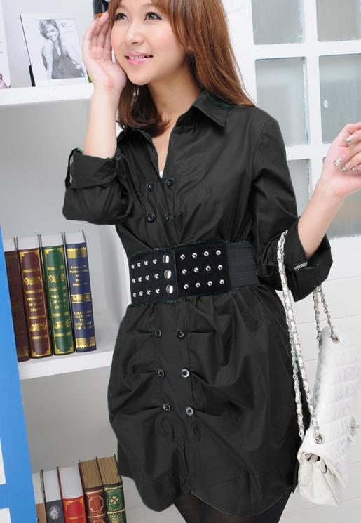 เสื้อทำงานเชิ๊ต สีดำ ตัวยาว แขนยาว พับติดกระดุม (สินค้าไม่รวมเข็มขัด)