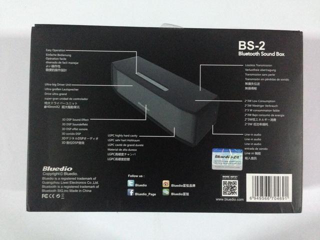 หลังกล่อง ลำโพงบลูทูธ Bluedio BS-2 สีดำ