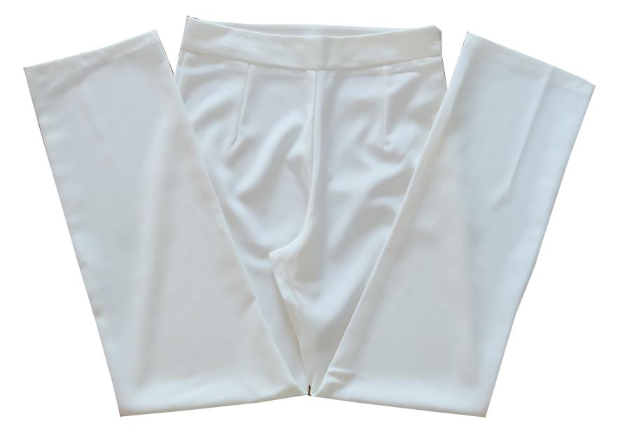 กางเกงขายาวผ้าฮานาโกะ ขากระบอกเอวสูง สีขาว