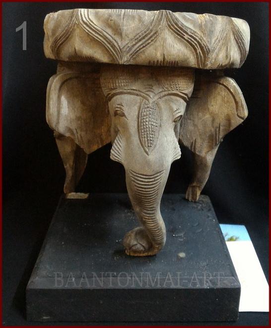 ไม้แกะสลักช้างสามเศียร1 (ชำรุด) สูง 21cm.