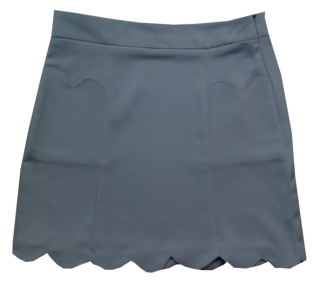 กระโปรงปลายหยักมีเป๋า ผ้าฮานาโกะ สีเทา Size S M L XL