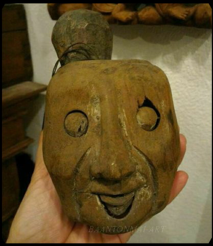 หัวหุ่นไม้เก่า ขยับตาปาก ศิลปะพม่า