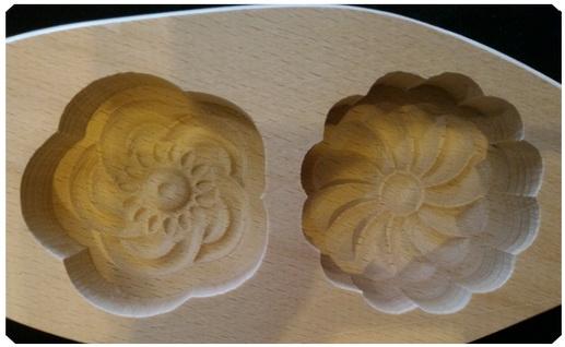 พิมพ์ขนมไม้ ลายดอก แบบ 2 หลุม