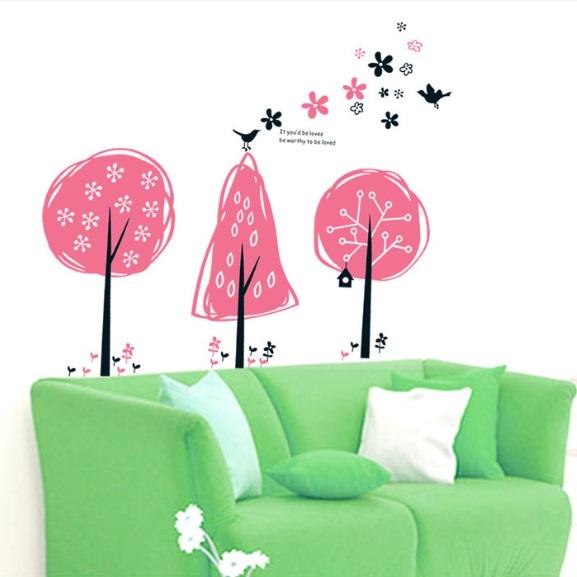 สติกเกอร์ต้นไท้การ์ตูนสีชมพูน่ารัก