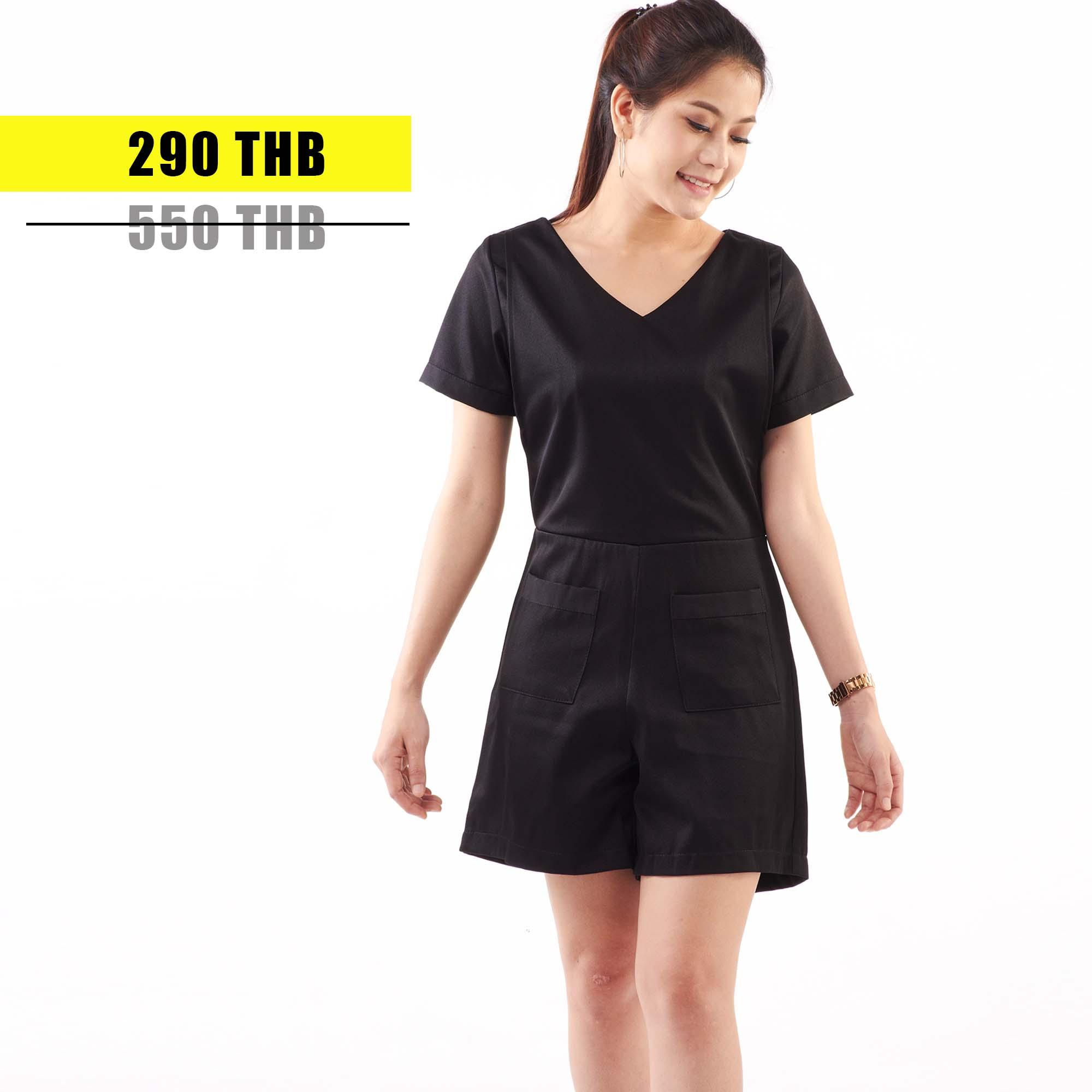 ชุดให้นม Phrimz : Daiana breastfeeding jumpsuit - Black สีดำ