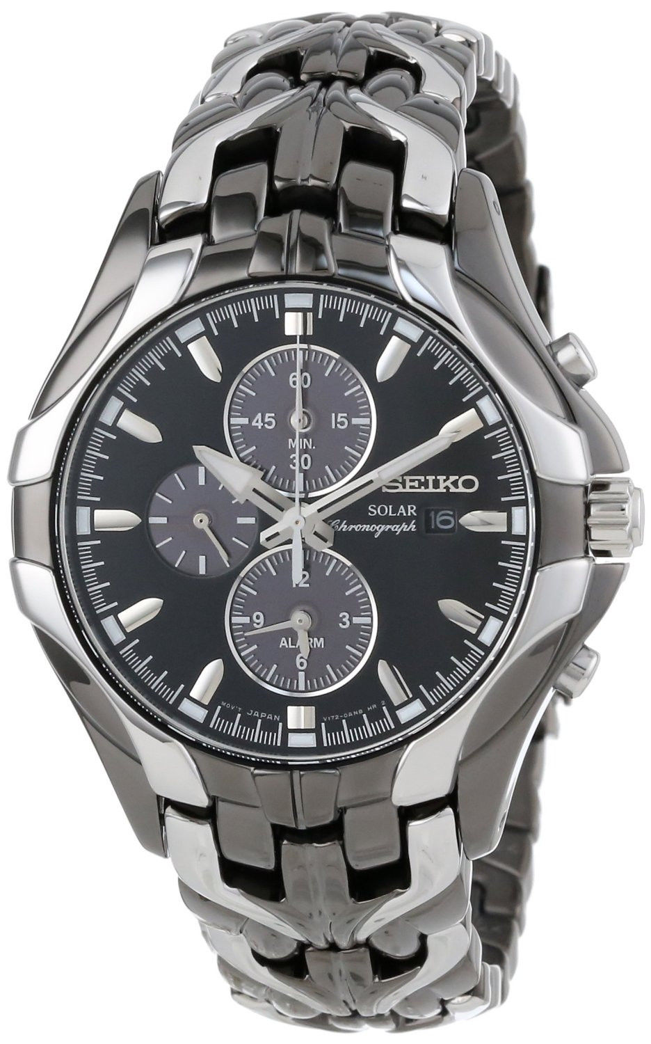 นาฬิกาผู้ชาย Seiko รุ่น SSC139, Seiko Core Solar Stainless Steel Chrono Black Dial