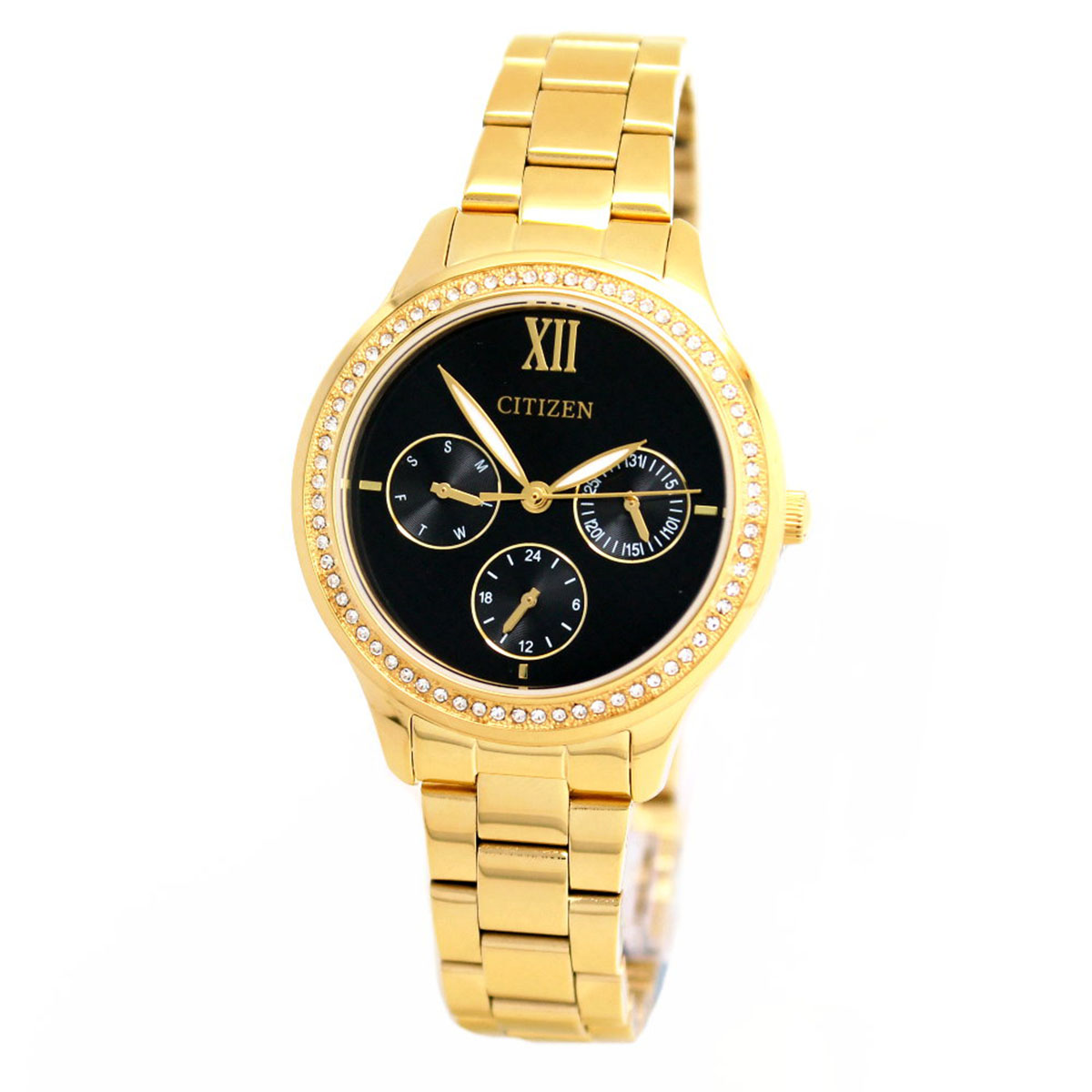 นาฬิกาผู้หญิง Citizen รุ่น ED8152-58E, Swarovski Gold Stainless Steel Analog Dress Watch
