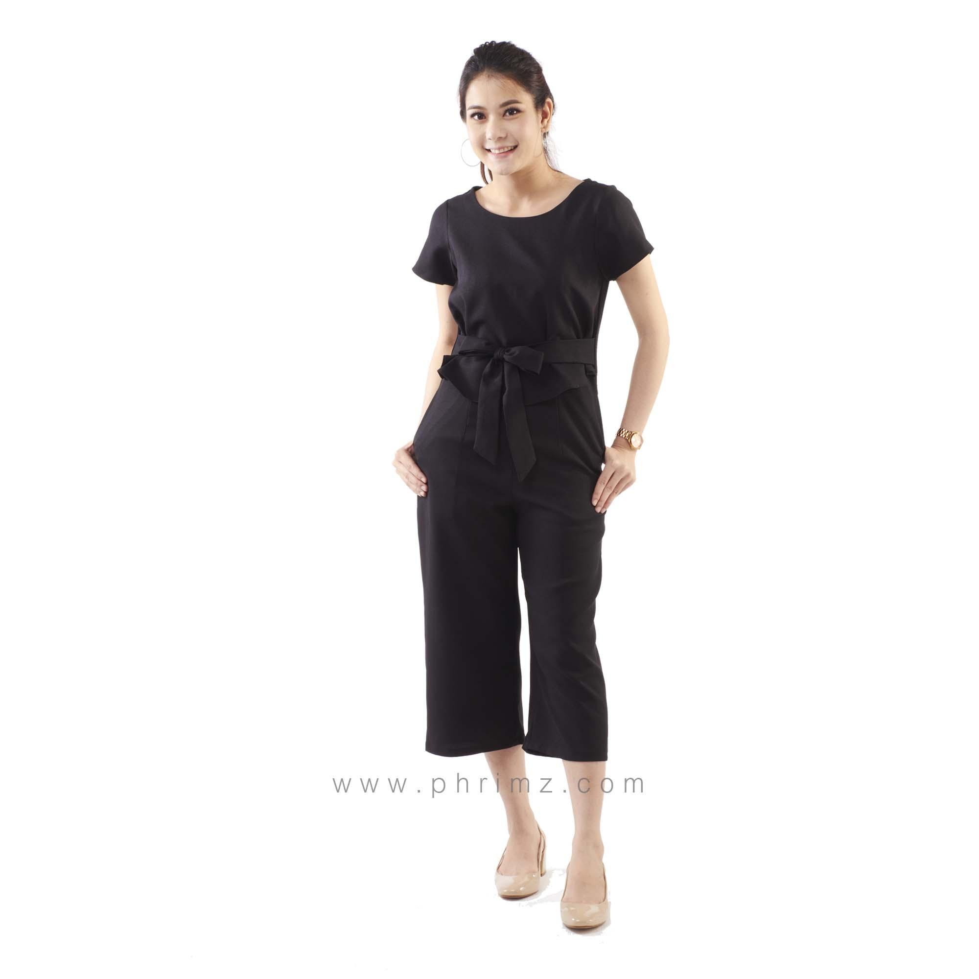 ชุดให้นม Phrimz : Jazzi Breastfeeding Jumpsuit - Black สีดำ