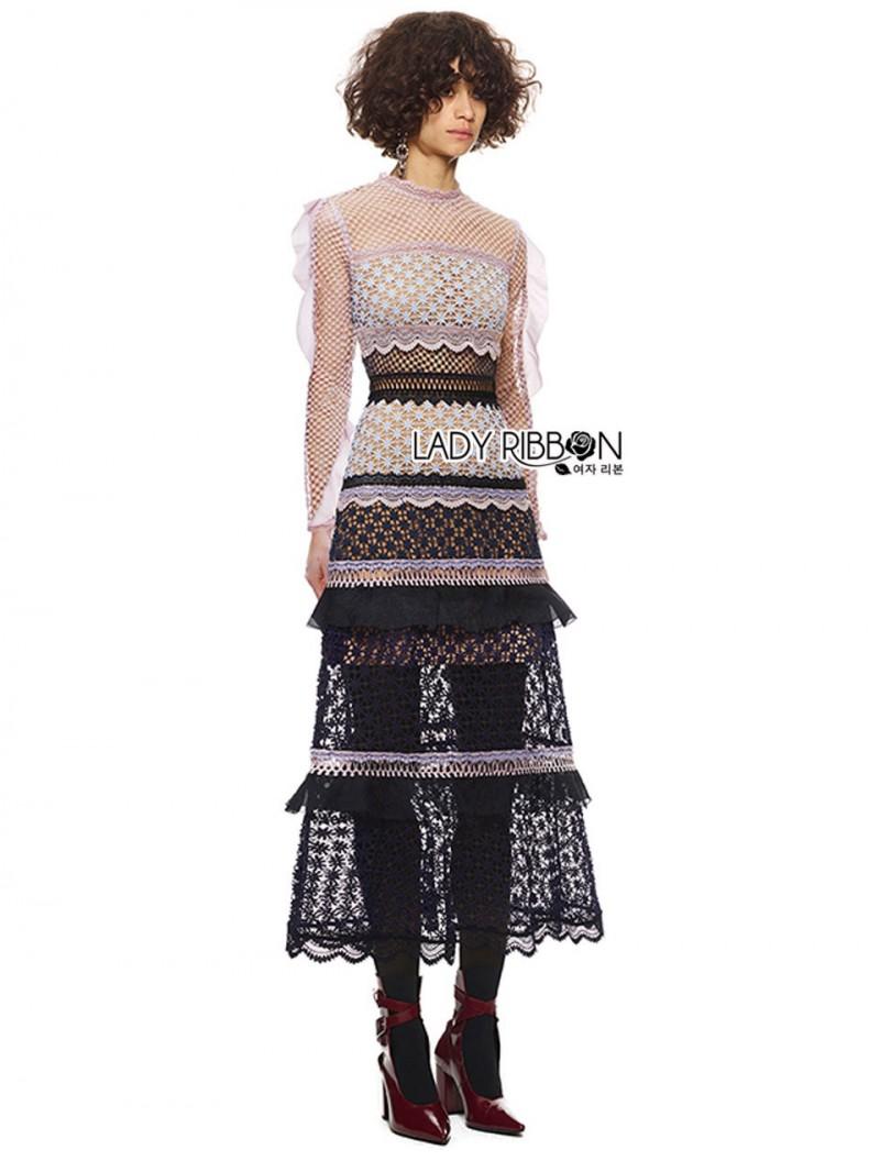 เสื้อผ้าแฟชั่นเกาหลี Lady Ribbon's Made Lady Luna Ruffle Layered Mixed Lace Long Dress