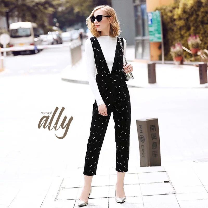 เสื้อผ้าแฟชั่นเกาหลี Normal Ally Present star blink blink Bib long pant