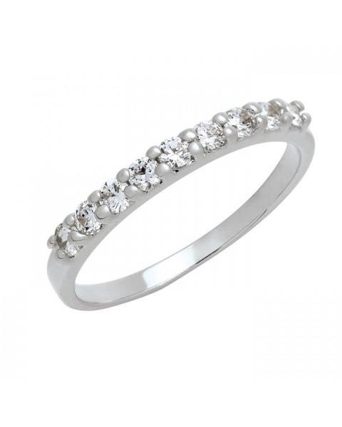 แหวนประดับเพชรฝังหนามเตย 9 เม็ด หุ้มทองคำขาวแท้
