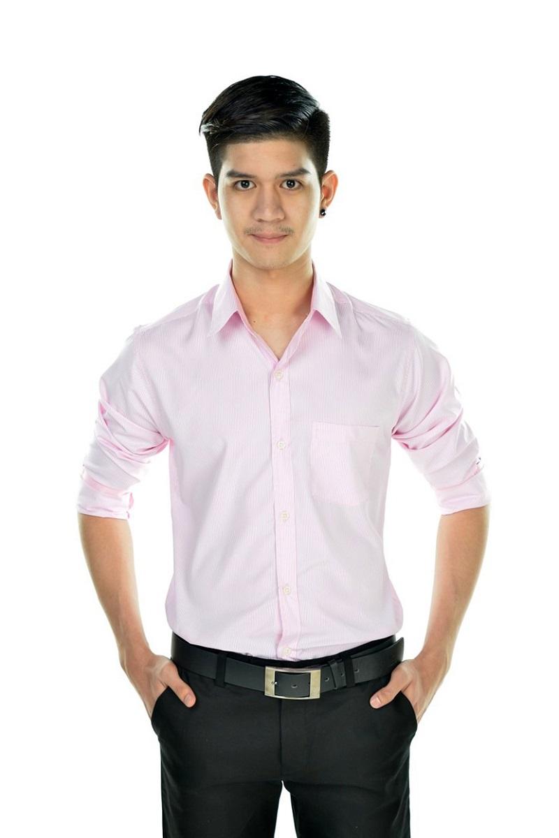 เสื้อเชิ้ตผู้ชายลายทางเล็กสีชมพู ผ้าโพลี